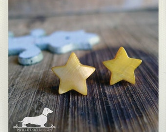 Twinkle Twinkle. Post Earrings -- (Yellow, Star, Vintage-Style, Gift Under 10, Gold, Bright, Geometric, Cute, Birthday Gift, Star Studs)