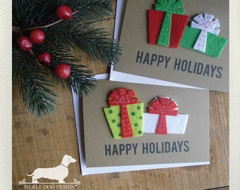 Happy Holidays. Note Cards (Set of 5) -- (Christmas, Presents, Gifts, Red, Green, Brown Kraft Paper, Simple, Cute, Classic, Holiday Cards)