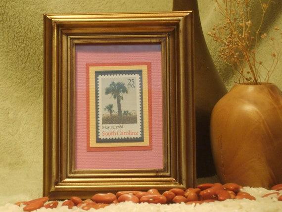 Vintage Framed Postage Stamp - South Carolina