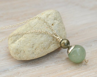 Aventurine Necklace, pyrite necklace, gemstone necklace, modern necklace, green stone jewelry, sterling silver necklace, fashion jewelry