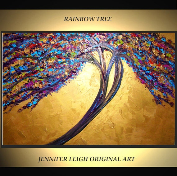 Original Large Abstract Painting Modern Contemporary Canvas Art Purple Blue Gold Rainbow Tree 36x24 Palette Knife Texture Oil J.LEIGH