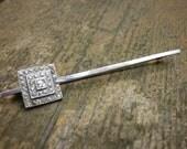 Vintage 1960's Silver Square Rhinstone Pin Brooch