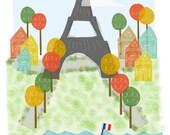 Paris France art print - 11x14 - Eiffel Tower Paris city poster illustration wall decor
