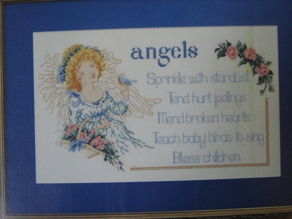 Angels Cross Stitch paper pattern booklet Heavens Helpers by Sam Hawkins used good condition