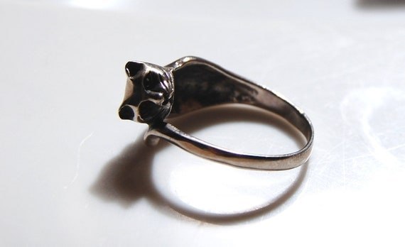 80s 90s Grunge Goth Silver Cat Ring UK S / US 9