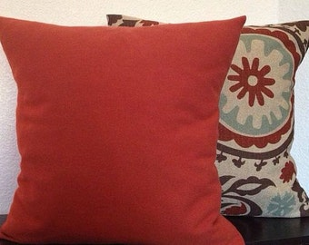 Single Pillow Cover 12x16 or 18 inch-Free US Shipping - Rust/Burnt Orange Home Decor Fabric
