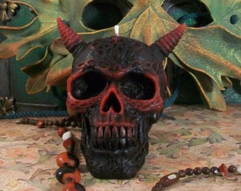 Skull Celtic Horned Skull Beeswax Candle Devil