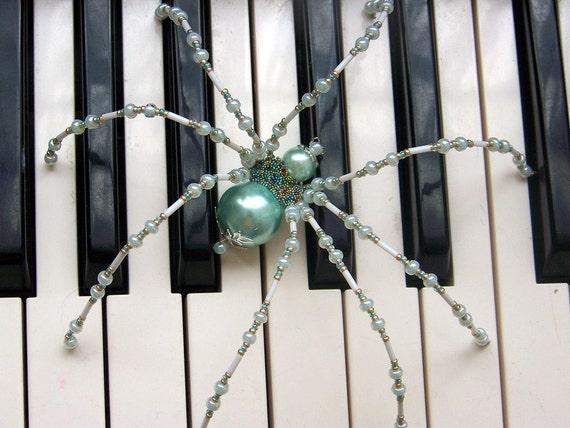 Aqua Pearl Beaded German Christmas Spider Ornament