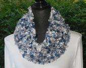 Funnel Infinity Eternity Cowl Neck Warmer Scarf Blue Grey White Multicolor Cluster Crochet
