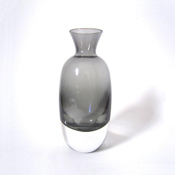 Scandinavian Smoke Gray Vase Cased in Clear Glass