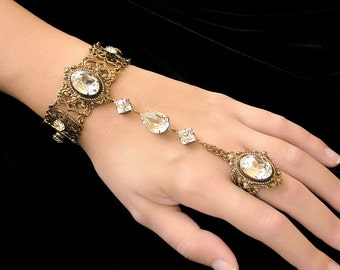 Swarovski  Crystal Slave Bracelet with Ring  - Victorian Jewelry - Wedding Jewelry - Victorian Bridal Bracelet