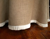"""102"""" Round Burlap Round Table Cloth With a Pleated White Linen Ruffle"""