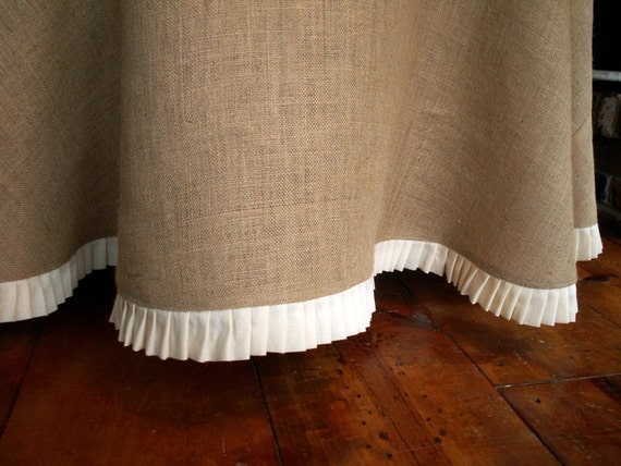 "78"" Round Burlap Round Table Cloth With a Pleated Linen Ruffle"
