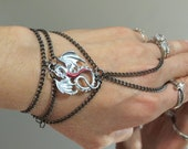 "Gothic Renaissance Silver Dragon ""Slave Bracelet"" Ring. Red belly Silver Dragon. Gunmetal Chains. Adjustable Fits 6"" to 8"""