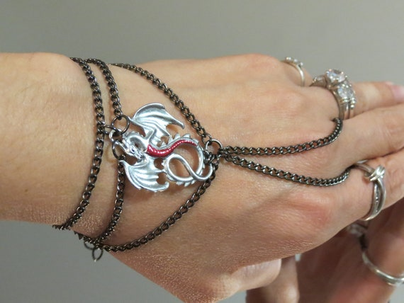 """Gothic Renaissance Silver Dragon """"Slave Bracelet"""" Ring. Red belly Silver Dragon. Gunmetal Chains. Adjustable Fits 6"""" to 8"""""""