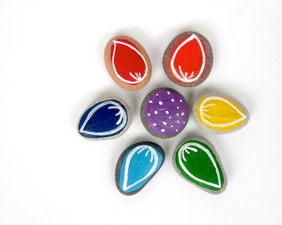 Rainbow Flower Puzzle for Kids, Painted Beach Pebbles with Magnets by HappyEmotions, Gift Ideas for Children, Sea Stones, Educational Toys