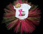 ADORABLE First Birthday Owl Tutu Outfit- Pink, Green, and Brown with Matching Bow
