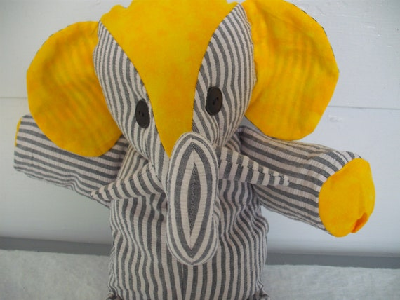 Clarence the Yellow and Grey Stuffed Elephant