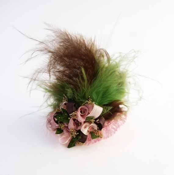 Miniature Hat - Dollhouse Hat - VIctorian Hat - Doll Hat - 1/12 Scale Miniature - Pink and Green Hat - Feathered Hat