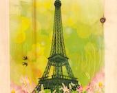 Fairy tale Eiffel Tower  (Image on wood)