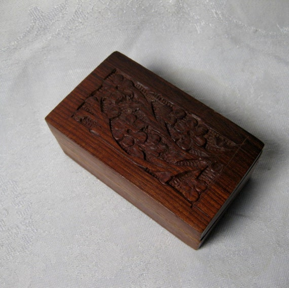 Reserve for Colleen   Vintage Wood Box Carved Cherry Blossoms Trinket Box V2012161