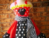 Minnie Mouse Birthday Outfit Boutique Girls Dress Boutique OTT Hairbow Red Black Yellow  Childrens Clothing 7 8 10 12