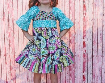 Boutique Girls Party Dress Birthday Dress Childrens Fall Clothing Peasant Dress Boutique Hairbow 6-12m 18m 2t 3t 4t 5 6 7/8 9/10 11/12