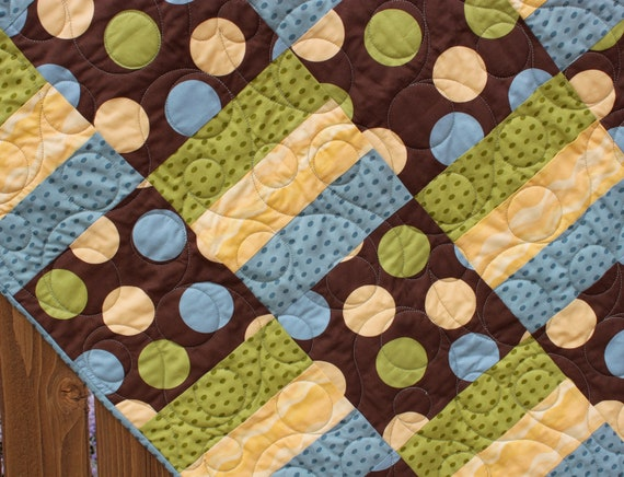 Modern Polka Dot Baby Boy Quilt By Jennymsquilts On Etsy