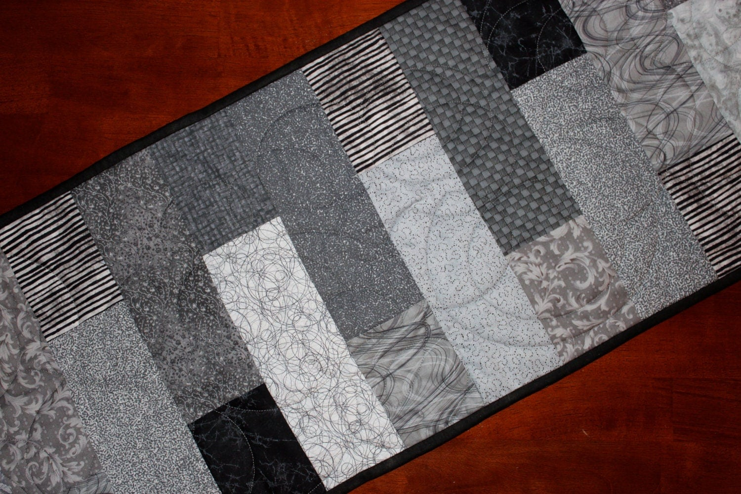 Modern black gray table runner quilted large by for Modern table runner