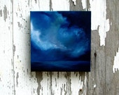 Original oil painting art thunderstorm seascape night clouds home decor painting 8x8 - Night Diver