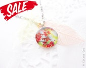 SALE - Red leaves necklace - Nature themed jewelry