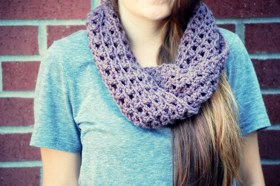 crochet  twisted circle cowl neckwarmer  in taupe.