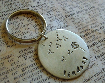 Metal Stamped Sterling Silver Dandelion Personalized Keychain