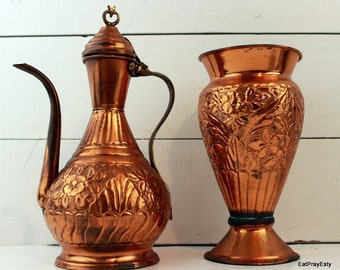 Vintage Copper and Brass Pitcher and Vase Set Made in Turkey