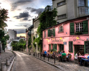 PARIS FRANCE CAFE French Montmarte Outdoor Cafe Paris France Photographic Photo Print