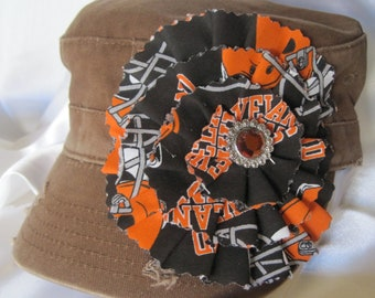 SALE.....Brown Cadet Military Distressed Hat  with a Cleveland Browns Colored Fabric Flower and a Orange Rhinestone Accent