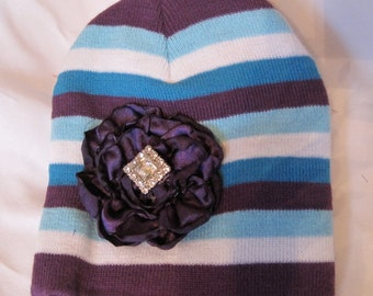 Beanie Toddler Striped with Purple Satin Open Rose and a Rhinestone Accent Fits Up to 6 Months or Larger