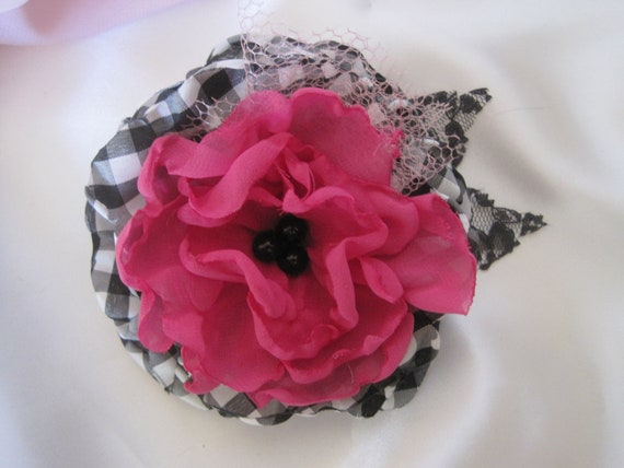 Black and White Checked with Bright Pink Chiffon Flower Hair Clip Pin Brooch with Black Faux Center and Lace Leaves
