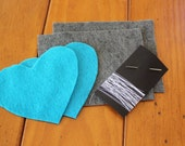 Kids My First Sewing Starter Craft Kit  - Makes 2 Shapes / Pillows, Teal & Gray