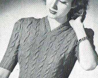 1940s style- Cable blouse- designed to flatter- Australian vintage knitting ePattern b34 - b36