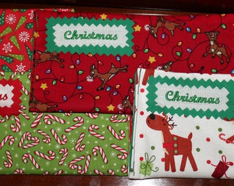 CHRISTMAS Fabric Cash Envelope with EMBROIDERED LABEL - pick your own fabric