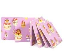 Vinyl Coasters - Matryoshka Dolls - Fabric Coasters - Heather Ross Fabric