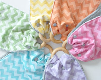 Teething Toy - Teething Ring - Burp Cloth - Baby Shower Gift- Chevron Fabric