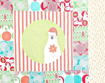 Christmas Quilt - Holiday Quilt - Baby Blanket - Modern Quilt - Winter Quilt