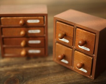 2 Pcs Wooden Rubber Stamp - Vintage Style -Drawer