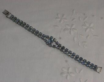 Bracelet - Blue Rhinestones - Vintage