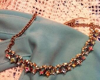 Vintage Gold Tone Multi Color Pastel Rhinestone Necklace