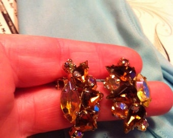 Vintage Gold Tone Amber AB Rhinestone Clip On Earrings Juliana Style