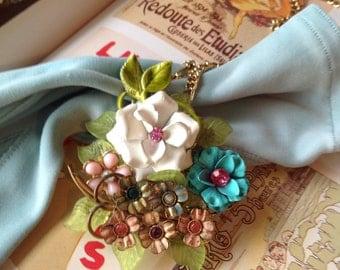 Layered Handmade Enamel Glistening Rain Flower Ooak Necklace