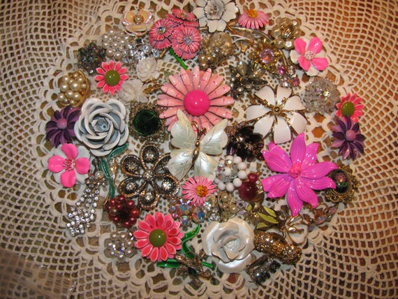 Vintage Beautiful Jewelry For Making A Bridal Bouquet Enamel Flowers and More